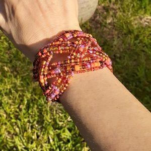Colorful Beaded Bracelet Cuff